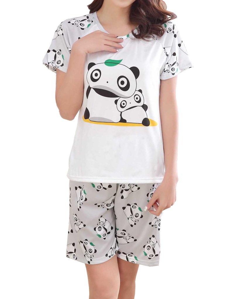 MyFav Big Girls Panda Pajama Kawayi Children Summer Sleepwear Lovely Loungwear