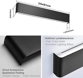 Aipsun 24in/20W LED Matte Black Modern Vanity Light Matte Black Wall on