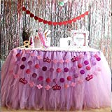Long Tutu Table Skirts 2-Colour combined for Birthday Wedding Halloween 80*200cm 80*300cm (80*200cm, Purple&Pink)