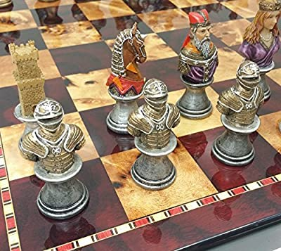 Medieval Times Crusades Knight Chess Set Painted Busts W/ High Gloss Cherry & Burlwood Color Board 18""