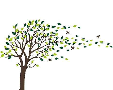 Vinilos Decorativos Pared Naturaleza.Bdecoll Adhesivo Mural Decorativo De Vinilo Naturaleza Bosque Wandtat Arboles Y Hojas Pared Pajaros Vinilo Decoracion De Interiores Negro