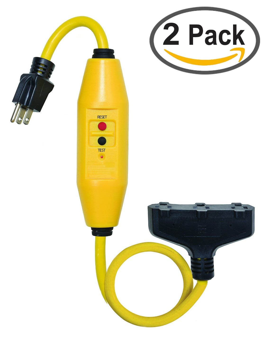 Tower Manufacturing 30338024 2 Length 15 amp In-Line GFCI And Triple Tap Cord Set With Auto Reset