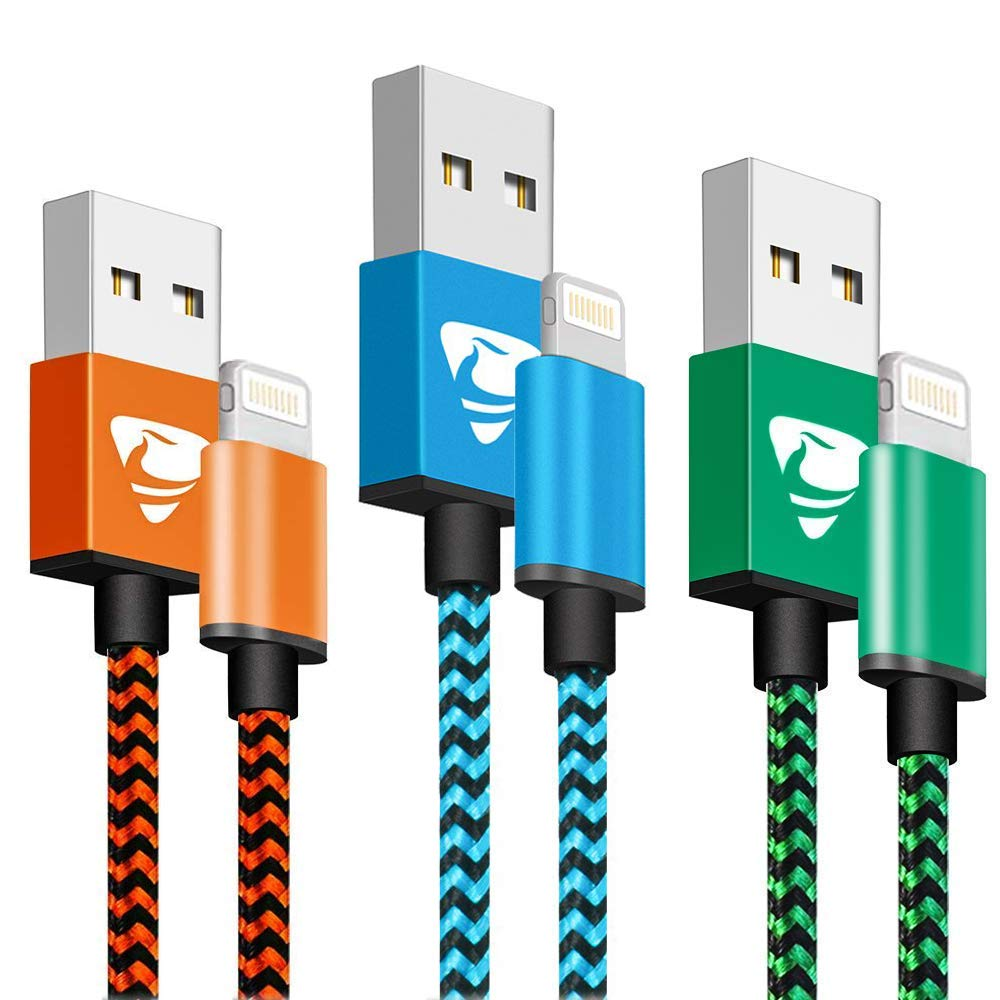 iPhone Charger MFi Certified Aioneus Fast Charging Cable 6FT 3 Pack Nylon Braided iPhone Charging Cord Compatible with iPhone Xs XR X 8 8 Plus 7 7 Plus 6s Plus 6 Plus 5S SE iPad-Blue,Orange,Green by Aioneus