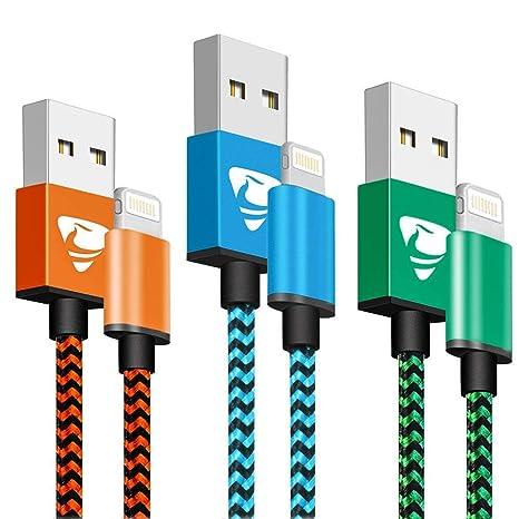 Cable de Carga para iPhone con Certificado MFi Aioneus, Cable Lightning de 2 m, Cable de Carga USB, de Nailon, para iPhone Compatible con iPhone X XR ...