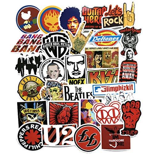 (Cool Rock Punk Music Band Vinyl Laptop Stickers Car Skateboard Motorcycle Bicycle Luggage Guitar Bike Decal 52pcs Pack)