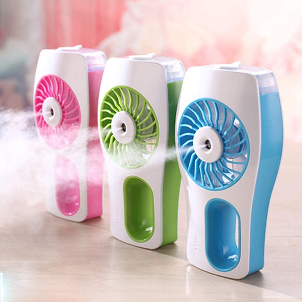Color : Blue Mini Portable Cooling Fan Personal Fan USB Charging Handheld Mini Electric Fan Summer Air Cooling Fan