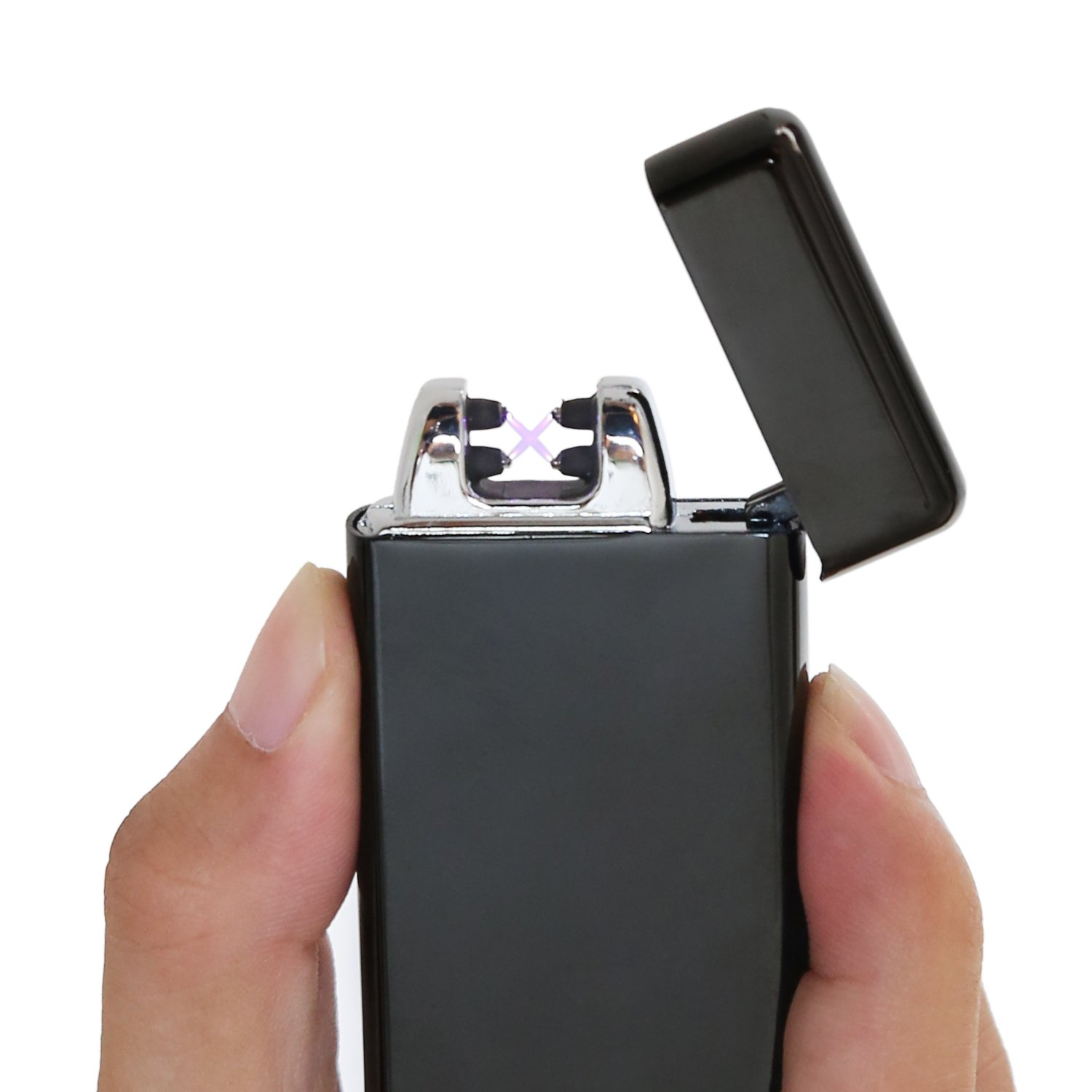 Ruiwo Tesla Coil Lighters Metal Rechargeable Windproof Flameless Electric Dual Arc USB Lighter (Black) by Ruiwo (Image #2)