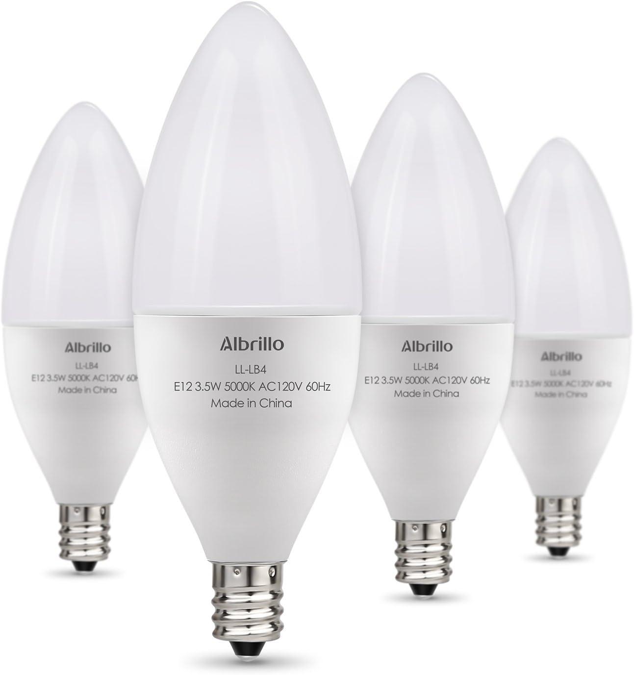 Albrillo E12 Led Candelabra Light Bulbs Led Bulbs Daylight Led Ceiling Fan Light Bulbs 40 Watt Equivalent Candelabra Base Chandelier Light Bulbs Non Dimmable 4 Pack