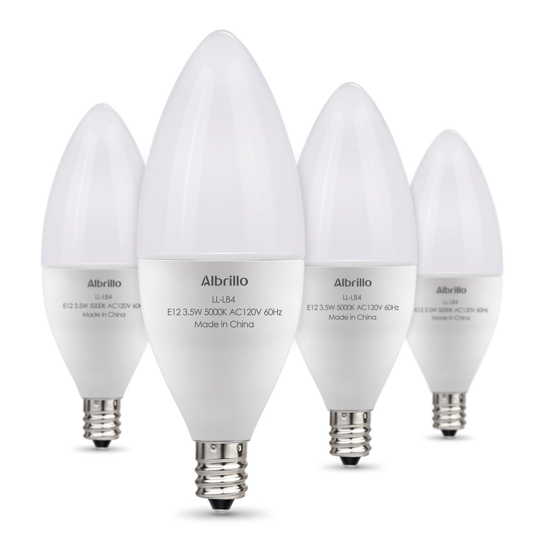 Albrillo E12 LED Bulbs, Candelabra Light Bulbs 40 Watt Equivalent, Daylight White LED Chandelier Bulbs, Candelabra Base, Non-Dimmable LED Lamp, 4 Pack