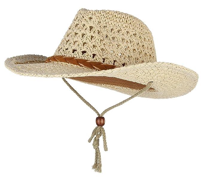 c47dcb48a99 Gemvie Baby Toddler Kids Sun Straw Western Cowboy Hat Wide Brim with Chin  Strap (Beige