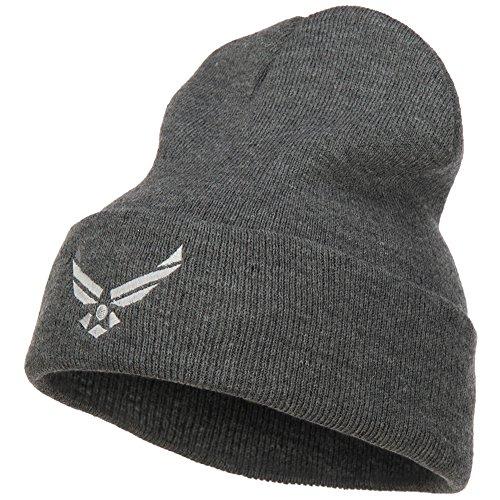 e4Hats.com US Air Force Silver Logo Embroidered Long Beanie - Dk Grey OSFM