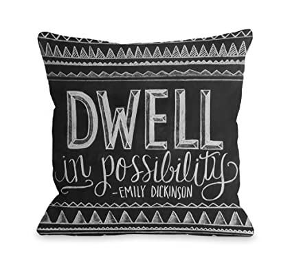 One Bella Casa 14725PL42 My My Happy Place Pillow by OBC Charcoal 14 x 20