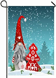 Ahawoso Outdoor Garden Flag 12x18 Inches Tomte Gray Gnome Nisser Norway Denmark Tomtar Sweden Tonttu Dwarf Holidays Christmas Green Swedish Seasonal Home Decorative House Yard Sign