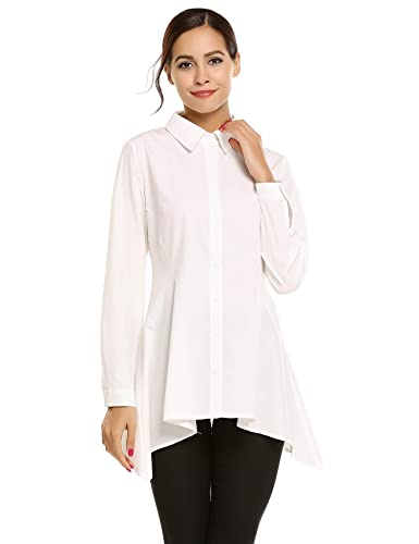 Meaneor Mujer Camisa Manga Larga Sólido Camiseta Casual Formal Irregular Top