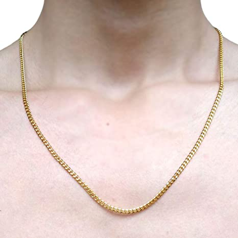 Tuokay 18k Small Faux Gold Chain 3mm Width 24 Long Pendant Chain Necklace For Women And