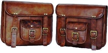 Handgefertigte Tasche Wala 2 X Motorrad Seitentaschen Braun Leder Seitentasche Satteltaschen Satteltaschen 2 Taschen Auto