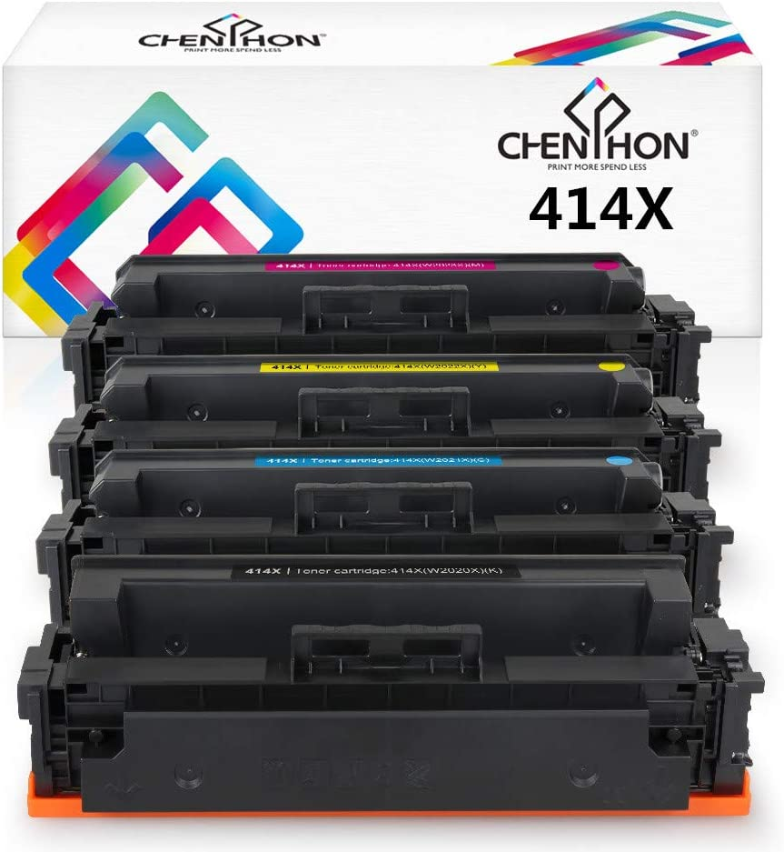 CHENPHON Compatible HP 414X 414A Toner Cartridge W2020X W2021X W2022X W2023X High Yield for use with HP LaserJet Pro M454dw M454dn MFP-M479fdw M479fdn M479dw Printer 4-Pack (Black CMY) without IC chip