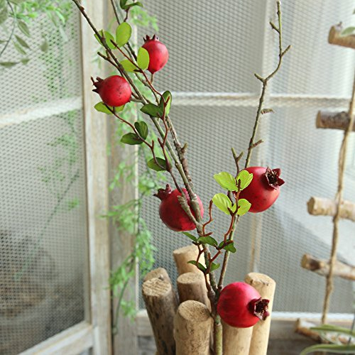 Artificial flower,Fake Rose Fruit Pomegranate Berries Bouquet Long Dry Branch Floral For Garden Home Decor (Red) by MaxFox (Image #5)