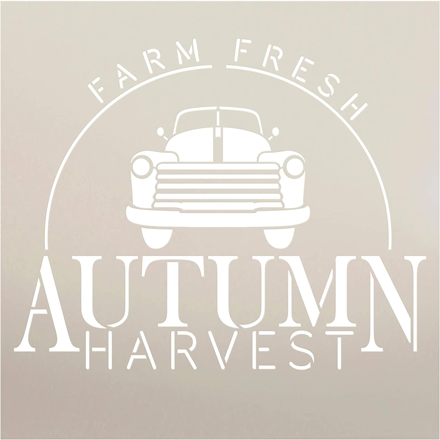 Farm Fresh Autumn Harvest Stencil by StudioR12 | Old Vintage Truck | Reusable Mylar Template | Paint Wood Sign | Craft Retro Fall Country Home Decor - Porch | Rustic DIY Seasonal Gift | Select Size