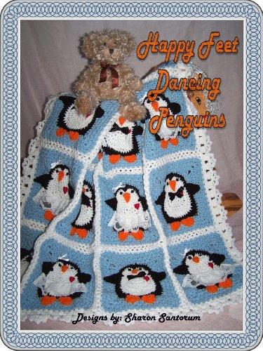 (Dancing Boy and Girl Penguin baby afghan or blanket crochet pattern)