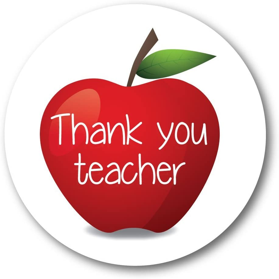 Thank you teacher - 'red apple' - 60mm stickers, crafts, teacher gifts,  cards, shops - 36 in pack: Amazon.co.uk: Kitchen & Home