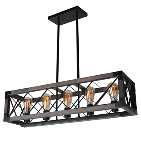 competitive price 1c9d8 53a8d Baiwaiz Rustic Wood Chandeliers, Metal Rectangular Chandelier Farmhouse  Kitchen Island Lighting 5 Lights Edison E26 032