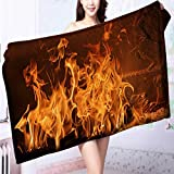 AmaPark ultra soft and absorbent bath towel A burning flame in a fireplace for Maximum Softness L39.4 x W19.7 INCH