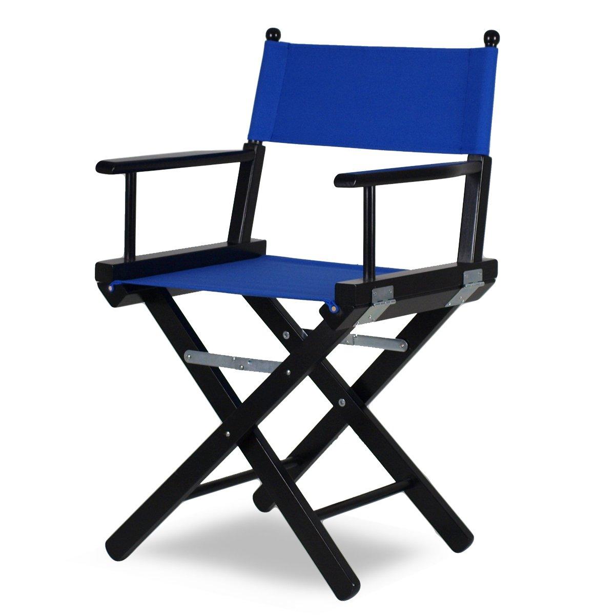 Chaise de réalisateur Noir avec tissu bleu – metteur P en bois