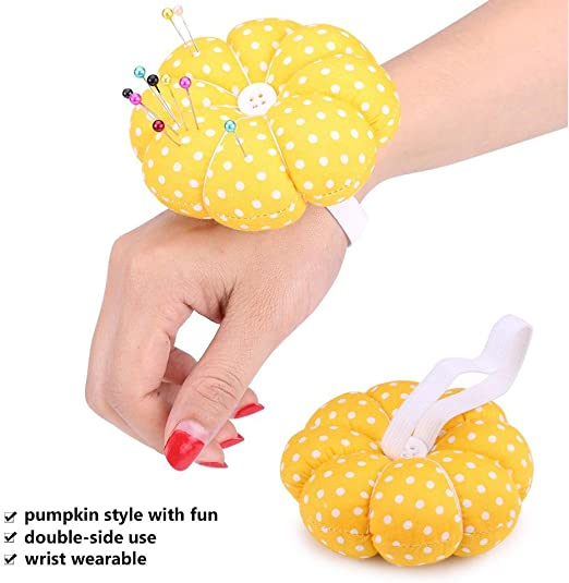 EMFGJ Pumpkin Wrist Wearable Needle Pin Cotton Round Shaped Pin Cushion Sewing Needles Cushion Sewing Accessories,Green