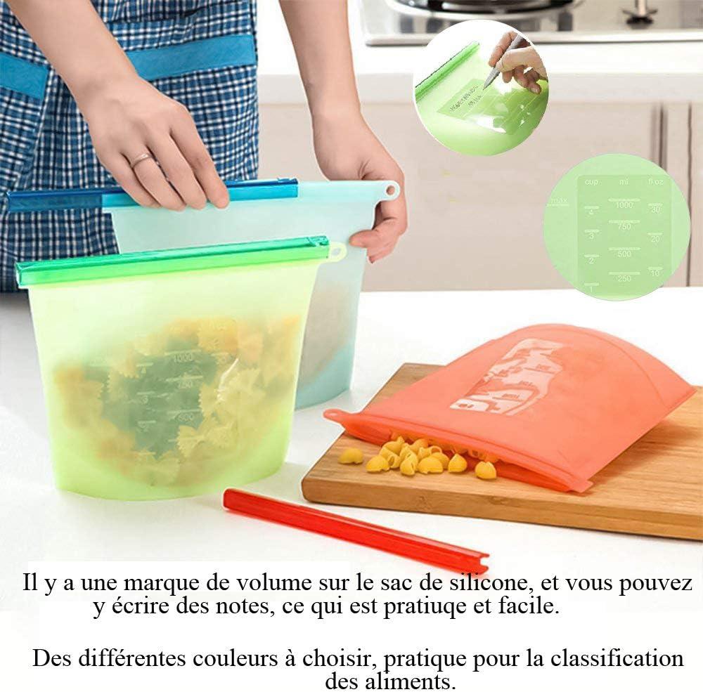 L Enshant Sac de Stockage daliments en Silicone R/éutilisable,Alimentaire sous Vide Sacs d/étanch/éit/é,Sacs de Cong/élation,D/étanch/éit/é /étanche pour Fruits L/égumes Conservation de Viande