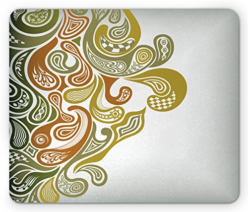 s Mouse Pad, Classical Scroll Pattern with a Modern Approach Swirled Leaf Figures, Standard Size Rectangle Non-Slip Rubber Mousepad, Khaki Green Cinnamon (Earth Scroll)