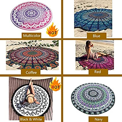 NLGToy Beach Towels,Round Lotus Flower Mandala Tapestry,Beach Throw Tapestry Hippy Boho Gypsy Cotton Table Cover Yoga Mat Wall Hanging,Multi-Purpose