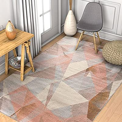"Barra Dusty Pink Multi-Color Modern Geometric Triangle Pattern Abstract 2x7 (2'3"" x 7'3"" Runner) Area Rug Contemporary Thick Soft Plush"