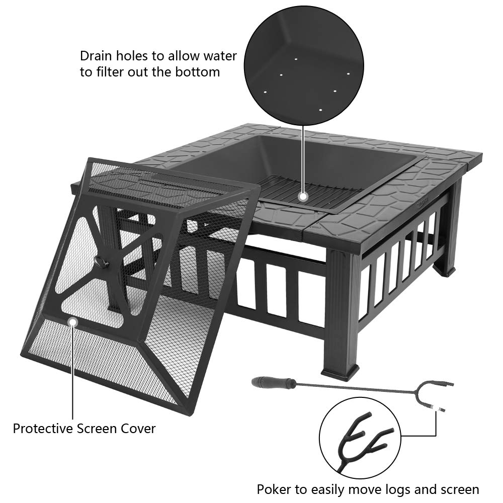 Amazon.com: FCH - Estufa cuadrada de metal para patio o ...
