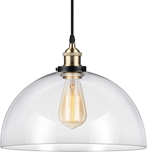 Ascher Industrial Edison Vintage Pendant Light, Clear Glass Shade 1-Light Ceiling Light Fixture, Antique Brass Brushed E26 Socket, 66.9 inches Adjustable Cord, Diameter 11.02 inches