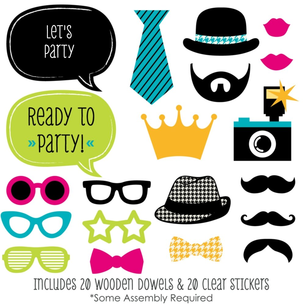 Big Dot of Happiness Ready to Party - Photo Booth Props for Kids - 20 Count by Big Dot of Happiness (Image #2)