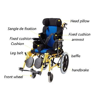 Silla de ruedas Aluminio, Plegable Ligera Autopropulsada, Completa para Niños/Semi-Inclinada: Amazon.es: Hogar