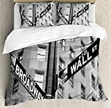 NYC Decor Duvet Cover Set by Ambesonne, Street Signs of intersection of Wall Street and Broadway Finance Art Destinations Photo, 3 Piece Bedding Set with Pillow Shams, Queen / Full, Black and White