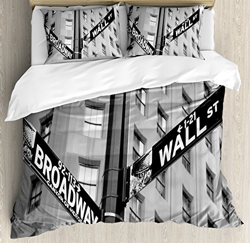NYC Decor Duvet Cover Set by Ambesonne, Street Signs of intersection of Wall Street and Broadway Finance Art Destinations Photo, 3 Piece Bedding Set with Pillow Shams, Queen / Full, - Broadway On Stores Nyc