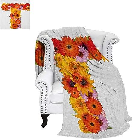 Amazon com: Letter Ttravel blanketT Shaped Floral