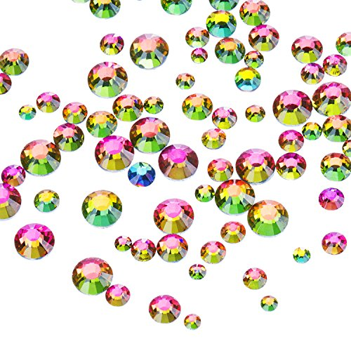 (Outus 1000 Pieces Multi AB Color Flat Back Rhinestones Round Crystal Gems 2 mm - 5 mm, 5 Sizes)