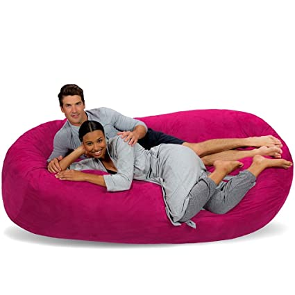 Beau Bean Bag Seat In Pink Color Double Long 2 Person Capacity Soft Comfortable  Pouf Chair Relax