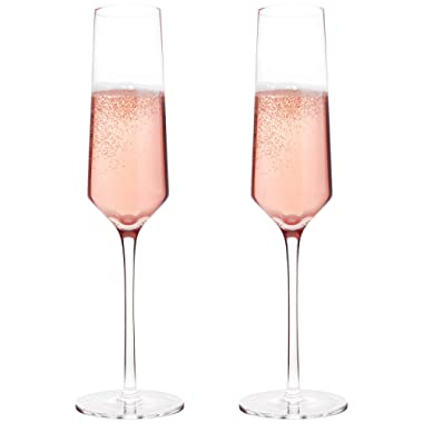 Classy Champagne Flutes by Bella Vino - Hand Blown Crystal Champagne Glasses Made from 100% Lead Free Premium Crystal Glass, Perfect for Any Occasion,Great Gift, 10 , 7 Oz, Set of 2, Clear