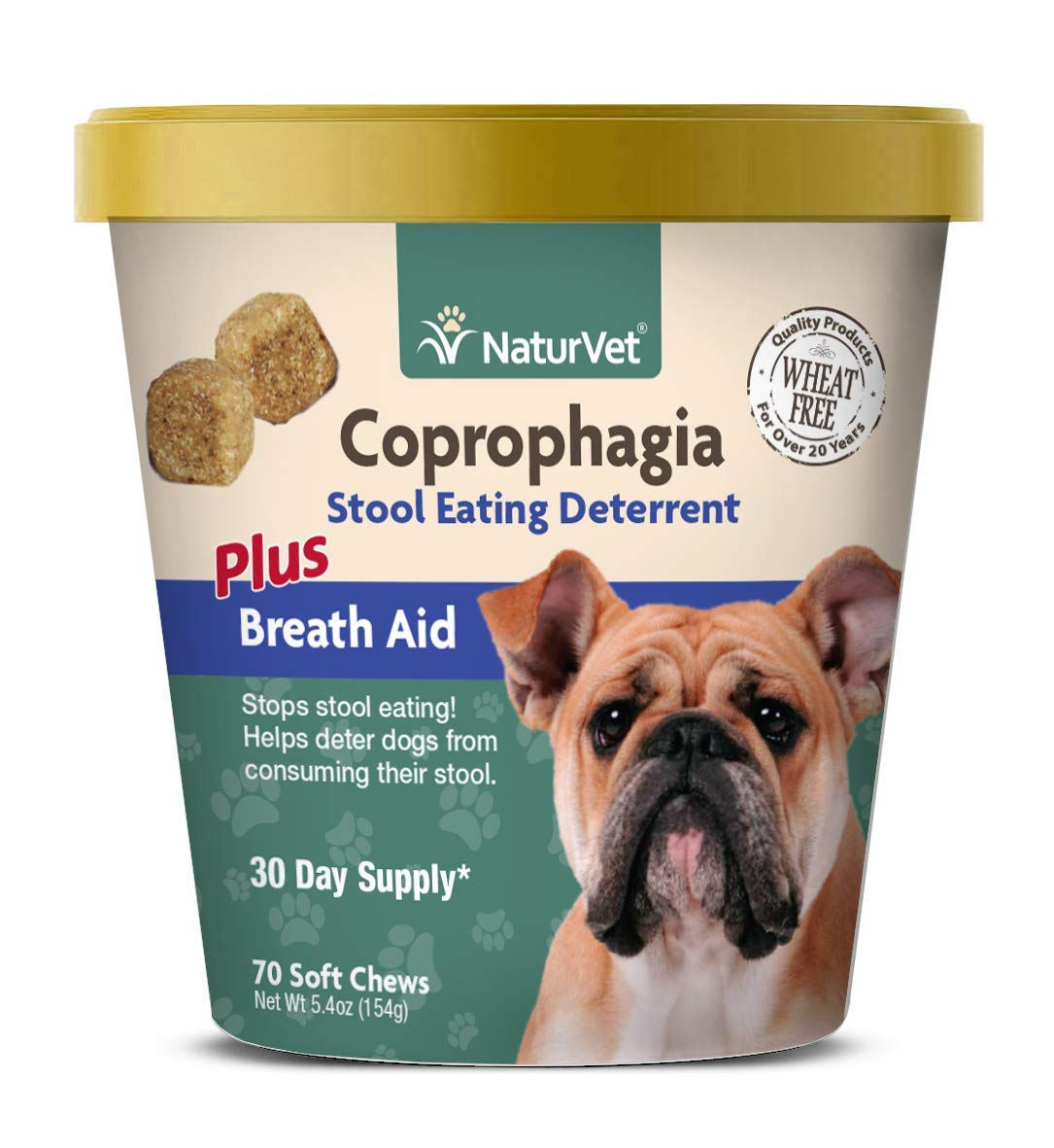 NaturVet - Coprophagia Stool Eating Deterrent Plus Breath Aid - Deters Dogs from Consuming Stool - Enhanced with Breath Freshener, Enzymes & Probiotics - 70 Soft Chews by NaturVet