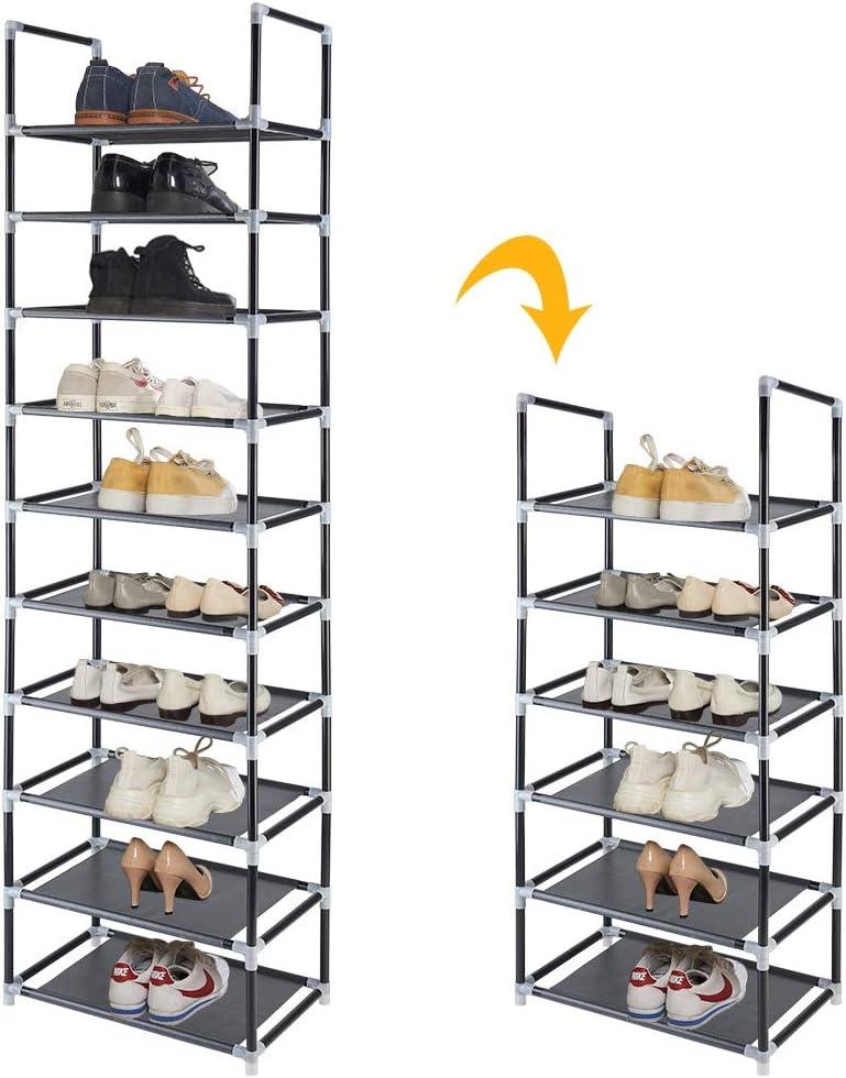 FORUP 10 Tiers Stackable Shoe Rack Non-Woven Fabric Shoe Tower Shelf Black Adjustable Shoe Storage Organizer Shelf