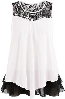 Maglietta Tumlr Donna UOMOGO Estate Elegante Camicia Senza Maniche in Chiffon Gilet con Fiocco Pizzo Camicia Tank Top