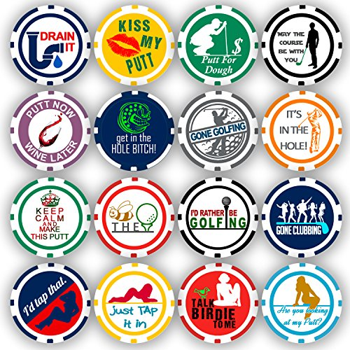 Da Vinci Golf Ball Marker Poker Chip Collection, 11.5 Gram Chips (16-Pack)