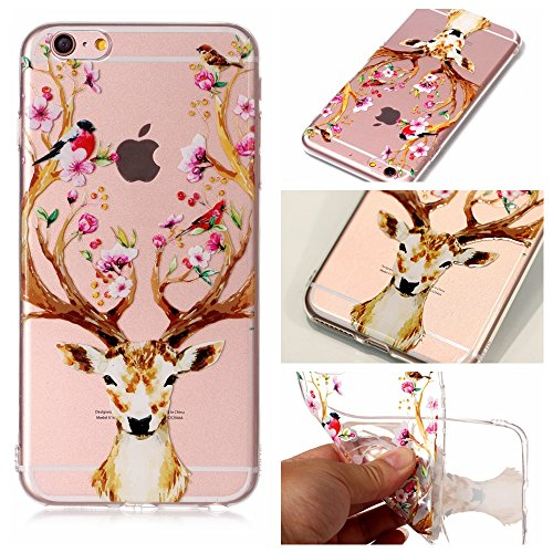 iPhone 6 6S Coque , Leiai Transparent Mode Elch Ultra-mince Clear Silicone Doux TPU Housse Gel Etui Case Cover pour Apple iPhone 6 6S