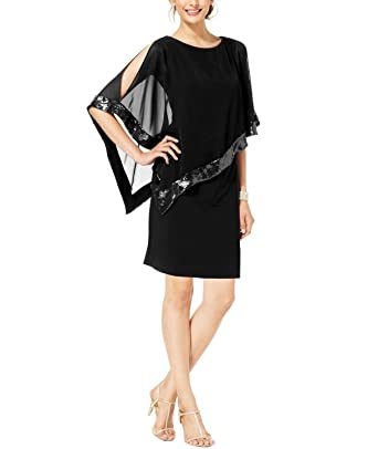 2651696d56 Amazon.com  RM Richards Women s Draped Chiffon Sleeve Overlay Sequin Party  Dress  Clothing