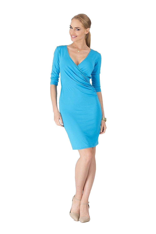 Kleid V-Ausschnitt Sommerkleid Mini Kleid 3/4 Arm in 10 Farben Gr. 36 38 40 42 44 46, 8985